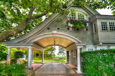 Another beautiful porte cochere on a carraige house on Watch Hill in Westerly, RI. Style At Home, Future House, My House, House On A Hill, Outdoor Spaces, Outdoor Living, Architecture Design, Porte Cochere, Casa Patio