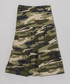 Take a look at this Retro Rags Green Camo Maxi Skirt - Toddler & Girls on zulily today!