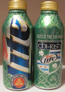 Chi-rish Miller Lite cans for Chicago Irish. Need Cleveland ones:) Miller Lite, Fanta Can, Luck Of The Irish, Chicago Bears, Fun Food, Favorite Holiday, Cleveland, Celtic, Ireland