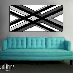 Original abstract painting on canvas. 24x48. Canvas art. Black and white painting. Modern painting. Large painting. Wall art. Geometric