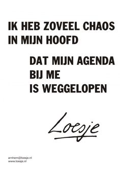 I have so much chaos in my head, my journal ran away from me - Loesje Ik heb zoveel chaos in mijn hoofd dat mijn agenda bij me is weggelopen - Loesje Favorite Quotes, Best Quotes, Funny Quotes, The Words, Words Quotes, Sayings, Well Said Quotes, Dutch Quotes, Good Jokes