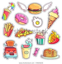 Trendy cool set of fast food patch badges in pop art style. Vector collection of hand drawn stickers and pins with meal Stickers Kawaii, Food Stickers, Printable Stickers, Cute Stickers, Planner Stickers, Journal Stickers, Pop Art Food, Cute Food Drawings, Tumblr Stickers