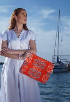 Twelve scuba clutch with Hera pattern// waterproof fabric & lining  Model: Sophia Zachariadou Clothing: Lefkon Photographs: Iro Simaioforidou