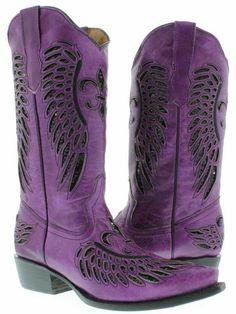 Women's ladies purple leather sequins cowboy boots western riding biker rodeo