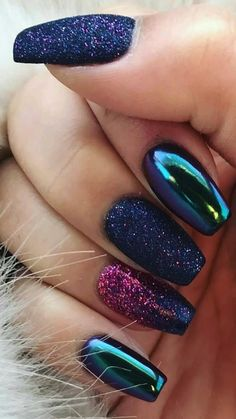 Summer Acrylic Nails, Best Acrylic Nails, Colorful Nail Designs, Acrylic Nail Designs, Unique Nail Designs, Royal Blue Nails Designs, Chrome Nails Designs, Dark Nail Designs, Perfect Nails