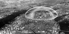 1960: Cúpula sobre Manhattan de Buckminster Fuller, capaz de controlar la temperatura, humedad de Manhattan, protegerla de ataques externos y proporcionar un microclima propio para los habitantes de la ciudad
