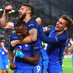 Antoine Griezman of France declared man of the match celebrates with teammates after winning the semi finals match of Euro Cup 2016