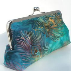 Peacock Feather in Turquoise Aqua Clutch Bag with...