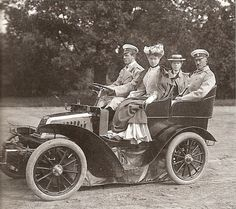 Grand Duke Michael driving with Princess Beatrice next to him. Grand Duchess Olga and her husband Peter in the back. Normally, Princess Beatrice would have been an ideal bride for Michael. She had beauty and prestige but she was his first cousin. The Russian Orthodox church forbid marriages between first cousins, a fact which had also stood as a barrier for Grand Duke Krill to marry Victoria Melita, Beatrice's sister.