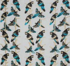 Matthew Williamson in collaboration with Osborne & Little. The Arini Sheer wallpaper from the 2015 Cubana collection. Tropical birds are jacquard woven to contrast with the sheer background, named after a type of parrot found in Latin America.