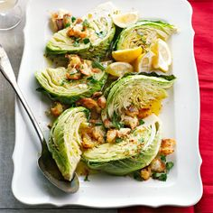 An updated version of a wedge salad, this humble cabbage recipe turns into a side-dish power player with the help of homemade croutons, a touch of lemon, and a dash of red pepper flakes./