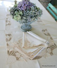 13 piece Elegant French Table Linen Set by SundayBrocantes on Etsy