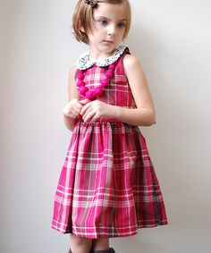 Take a look at this Magenta & Ecru Plaid Loraine Dress - Infant, Toddler & Girls by Atelier by Sophie Catalou on #zulily today!