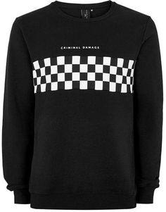 CRIMINAL DAMAGE X TOPMAN Black And White Checkerboard Sweatshirt cb3eae90e0ece