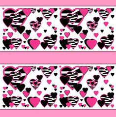 HOT PINK ZEBRA Heart Wallpaper Border Decals Safari Animal Print Teen Girls Room Baby Nursery Childrens Abstract Kids Wall Art Sticker Decor #decampstudios