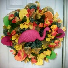 Summer, flip flop, flamingo deco mush burlap wreath