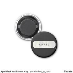April Black Small Round Magnet by Janz