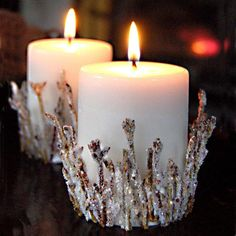 Elevate your home decor with these glistening DIY candle holders this holiday season! This project uses inexpensive materials to create natural decor. # DIY Home Decor inexpensive Bright Branches Candle Holder Diy Candle Holders, Diy Candles, Pillar Candles, Diy Candle Base, Decorating Candles, Glitter Candles, Candels, Candle Wax, Christmas Candles