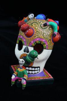 Finely Detailed Skull Caterpillars & Boys Day of the Dead Mexico Folk Art Puebla