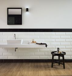 Oxford wall tile by Marazzi Big Bathrooms, Amazing Bathrooms, Modern Bathroom, Bathroom Design Inspiration, Bad Inspiration, Tile Stores, Apartment Kitchen, Creative Decor, Subway Tiles