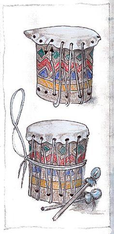 Diese Trommeln sind etwas einfacher herzustellen, als die indianischen Originale.  Eine Waschmitteltonne oder große Konservendose wird mit bunten Mustern verziert.