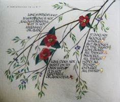 Corinthians calligraphy art on vellum