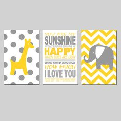 Elephant Giraffe Nursery Art You Are My Sunshine Trio  by Tessyla, $65.00