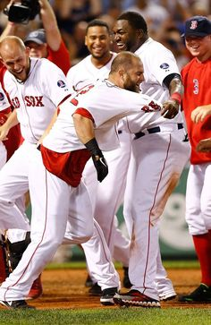Mike Napoli celebrates his walk-off homerun with his teammates at home plate! Red Sox Baseball, Fenway Park, Boston Massachusetts, Boston Red Sox, New York Yankees, Sports News, Playground, Mlb, Plate