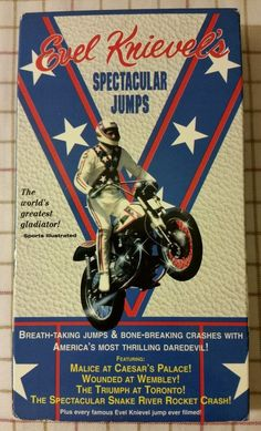 Evel Knievels Spectacular Jumps (VHS, for sale online Motorcycle Posters, Motorcycle Art, Retro Toys, Vintage Toys, Evil Kenevil, Biker Gear, American Legend, Vintage Metal Signs, Extraordinary People