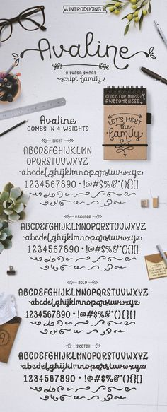 Avaline Script Family + BONUS Extras by Kimmy Design on @creativemarket