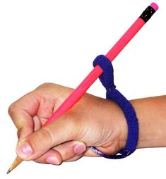 HandiWriter is a handwriting and writing aid that can help children with fine motor skill issues. This could include children with juvenile rheumatoid arthritis, spastic cerebral palsy or hand contractures. The HandiWriter has a soft cotton stretch knit band with a satin cord that wraps around the wrist to put the hand and wrist in the correct position to hold a writing tool. Price $4.95.