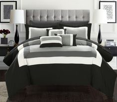10-Piece Queen Size  Bed in Bag/Comforter Set ,Black/White/Grey #BedinaBag