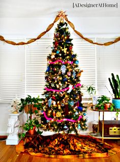 global, vintage, whimsical Christmas tree from A Designer At Home- bohemian at heart