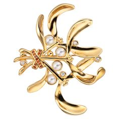 CIRO XMAS brooch Cirolit white/red, pearl white, gold-plated