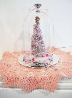 Bottle Brush Tree Cloche Snow Globe  Hostess by RedesigningVintage, $28.00