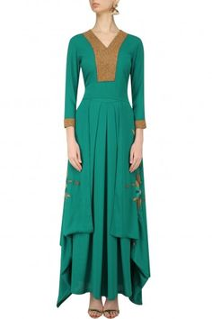 Nitin Bal Chauhan  Green Beadwork Tunic and Palazzo Pants Set  #happyshopping #shopnow #ppus