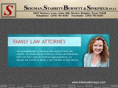 Seigman, Starritt-Burnett & Sinkfield, PLLC in Harker Heights, Texas represents clients in family law, personal injury and criminal defense matters. Family Law Attorney, Attorney At Law, Divorce Lawyers, Criminal Defense, Family Issues, Personal Injury, Stress, How To Get, Psychological Stress