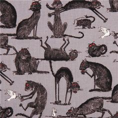 gray The Odditys black cat fabric by Elizabeth's Studio USA