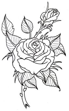 Rose Outline Template - Rose Drawing Tattoo Stencil Designs Printable ...