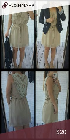 Flowy Lace Back Dress Preloved, in excellent condition.  Worn twice. Lightweight and flowy, perfect for summer! Pretty ruffles in the front with cinching waist tie creates flattering look :) Forever 21 Dresses