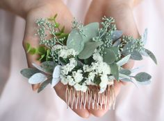 Eucalyptus hair comb greenery succulent Bridal hair vine boho ivory flower comb  bridal hair piece woodland flower hair comb floral hair pin by WildRoseAndSparrow on Etsy https://www.etsy.com/ca/listing/593042705/eucalyptus-hair-comb-greenery-succulent
