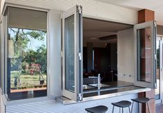 Beaut bar/servery. Love the stainless steel & corrugated iron :)