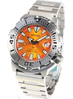 The Seiko Prospex Monster Orange Sunburst Diver's watch is rated to and comes with a beautiful orange sunburst dial. Order now at Shopping In Japan. Seiko Monster, Japanese Domestic Market, Double Lock, Two Tones, Glass Material, Seiko Watches, Beautiful Watches, Fashion Watches, Men Fashion