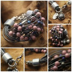 leather cord and ceramic beads bracelet