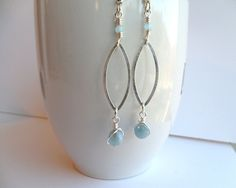 Sterling Silver Marquise Hoop Aquamarine Women's Long Earrings, Silver Dangle Earrings, Sterling Drop Earrings, Sterling Hoop Earrings by ThenThereWereThree on Etsy