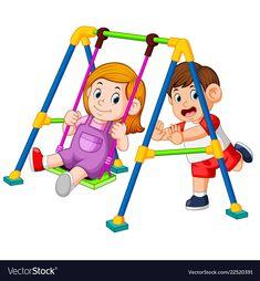Children have fun playing swings Royalty Free Vector Image School Fun, Pre School, Play Swing, Page Borders Design, School Clipart, Family Illustration, Kids Room Wallpaper, Cartoon Pics, Baby Milestones
