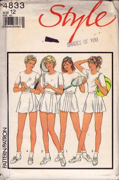 Style 4833 vintage sewing pattern, dated 1986.  Misses Set of Tennis Skirts: 4 different styles.  Pattern is cut and checked complete. Envelope has yellowing, store stamp and single ink mark on the front.  Size 12 Waist 26 1/2 inches / 67 cm Hip 36 inches / 92 cm  Mailed to you in an acid-free, resealable cello envelope.  More active/ gymwear patterns here: https://www.etsy.com/au/shop/allthepreciousthings?ref=hdr_shop_menu&section_id=19247658