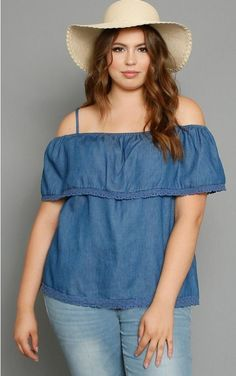 97c5dcfec4b PLUS CHAMBRAY COLD SHOULDER TOP Chambray