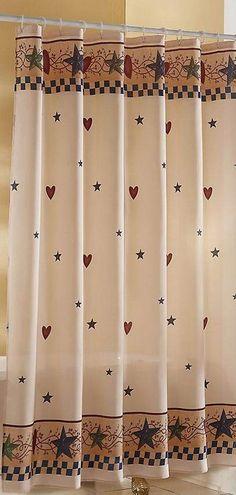 Hearts Stars Shower Curtain Primitive Country Bathrooms Bathroom Decor Baths