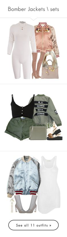 """Bomber Jackets \\ sets"" by kahla-robyn ❤ liked on Polyvore featuring Hermès, Muveil, Gianvito Rossi, Forever 21, Bjørg, Chicnova Fashion, Forte Forte, P.A.R.O.S.H., Allstate Floral and Mark Cross"